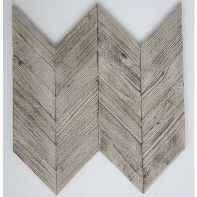 10 in. x 12 in. x 10 mm Tile Esque Teak Wood Chevron Mesh-Mounted Mosaic Tile