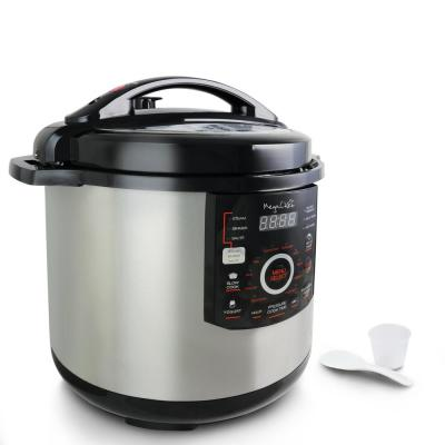 12 Qt. Black and Silver Electric Pressure Cooker with Automatic Shut-Off and Keep Warm Setting