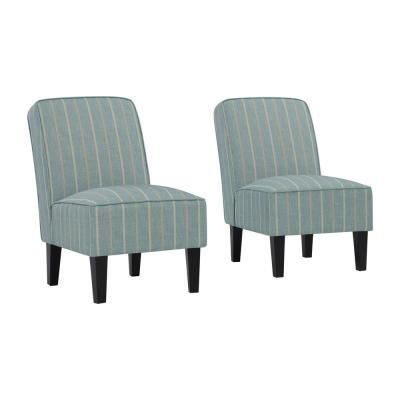 Brodee Upholstered Armless Accent Chairs in Turquoise & Tan Stripe (Set of 2
