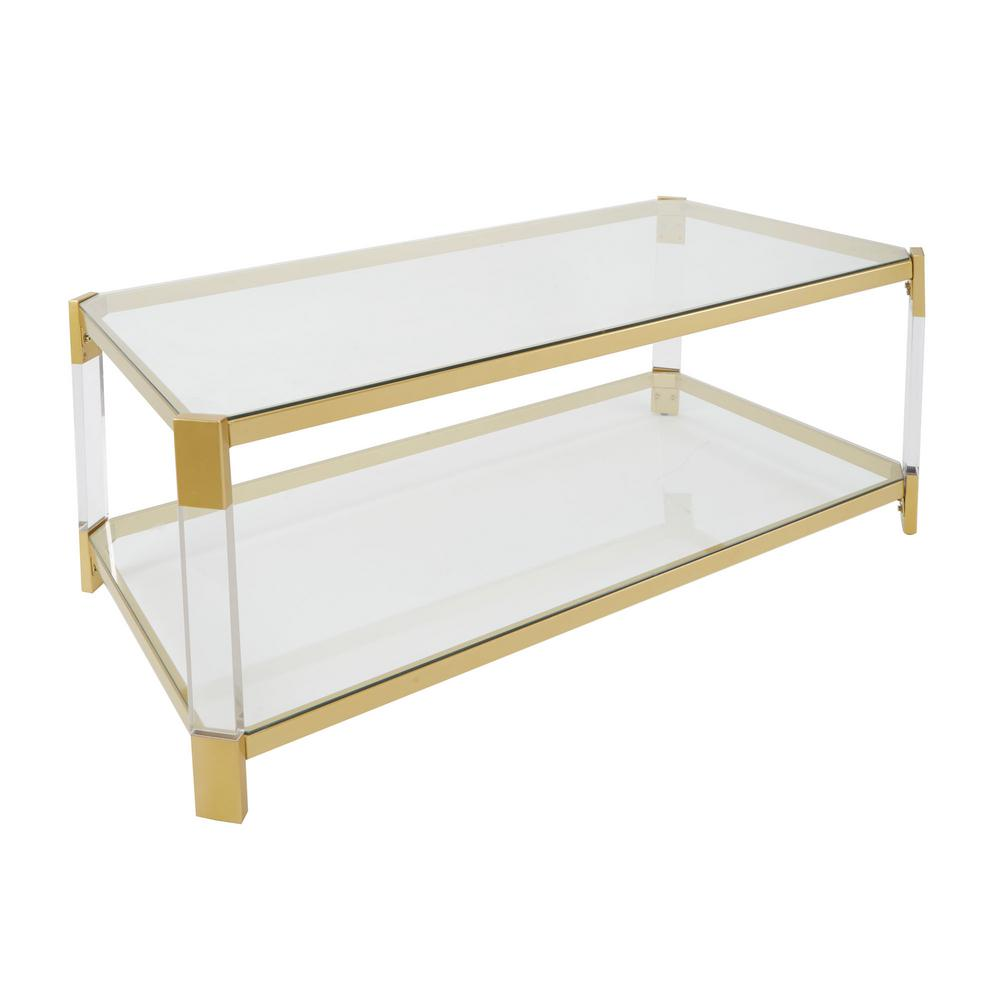 Silverwood Huxley Clear Glass And Gold Coffee Table Cpft1222b The