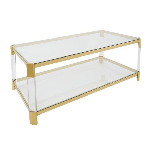 6ba719c926503 Silverwood Furniture Reimagined Huxley Clear Glass and Gold Coffee Table