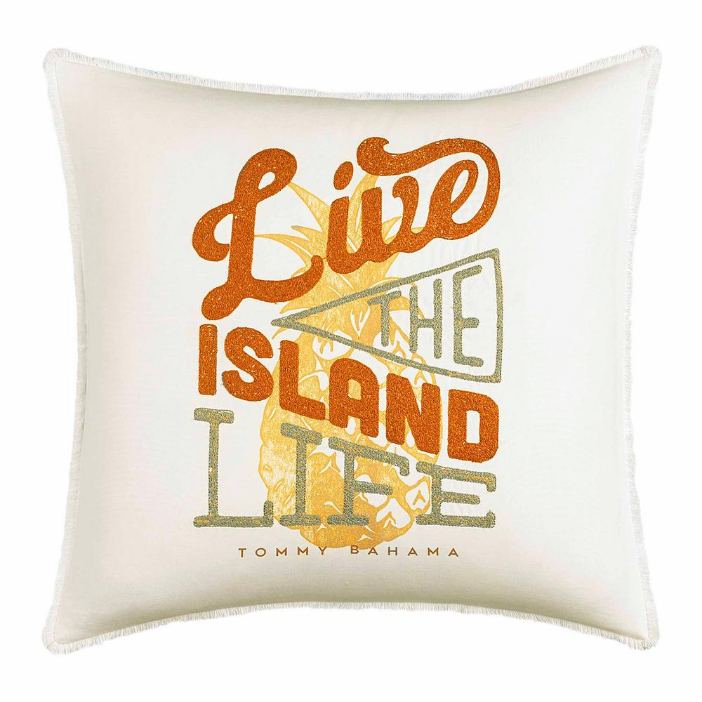 Sunrise Stripe Live the Island Life Citrus 18 in. x 18 in. Throw Pillow, Yellow Add the Tommy Bahama Sunrise Stripe Throw Pillow to your bedding ensemble for touch of paradise. The accent pillow reads a lighthearted signature message encouraging you to Life the Island Life. Pair this pillow with the rest of the Sunrise Stripe Collection to further elevate your bedding ensemble. Pillow (18 in. x 18 in.). Color: Yellow.
