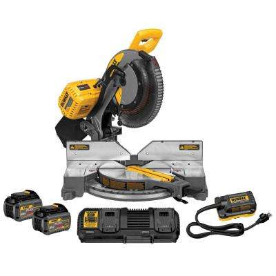 FLEXVOLT 120-Volt MAX Lithium-Ion Cordless Brushless Double Bevel 12 in. Miter Saw with (2) Batteries 6Ah and Charger