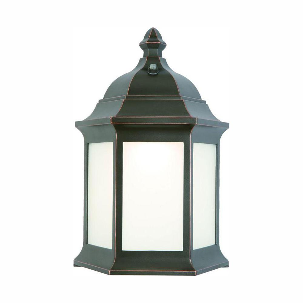Hampton Bay 1 Light Oil Rubbed Bronze Outdoor Wall Lantern: Hampton Bay Outdoor Oil-Rubbed Bronze LED Wall Lantern
