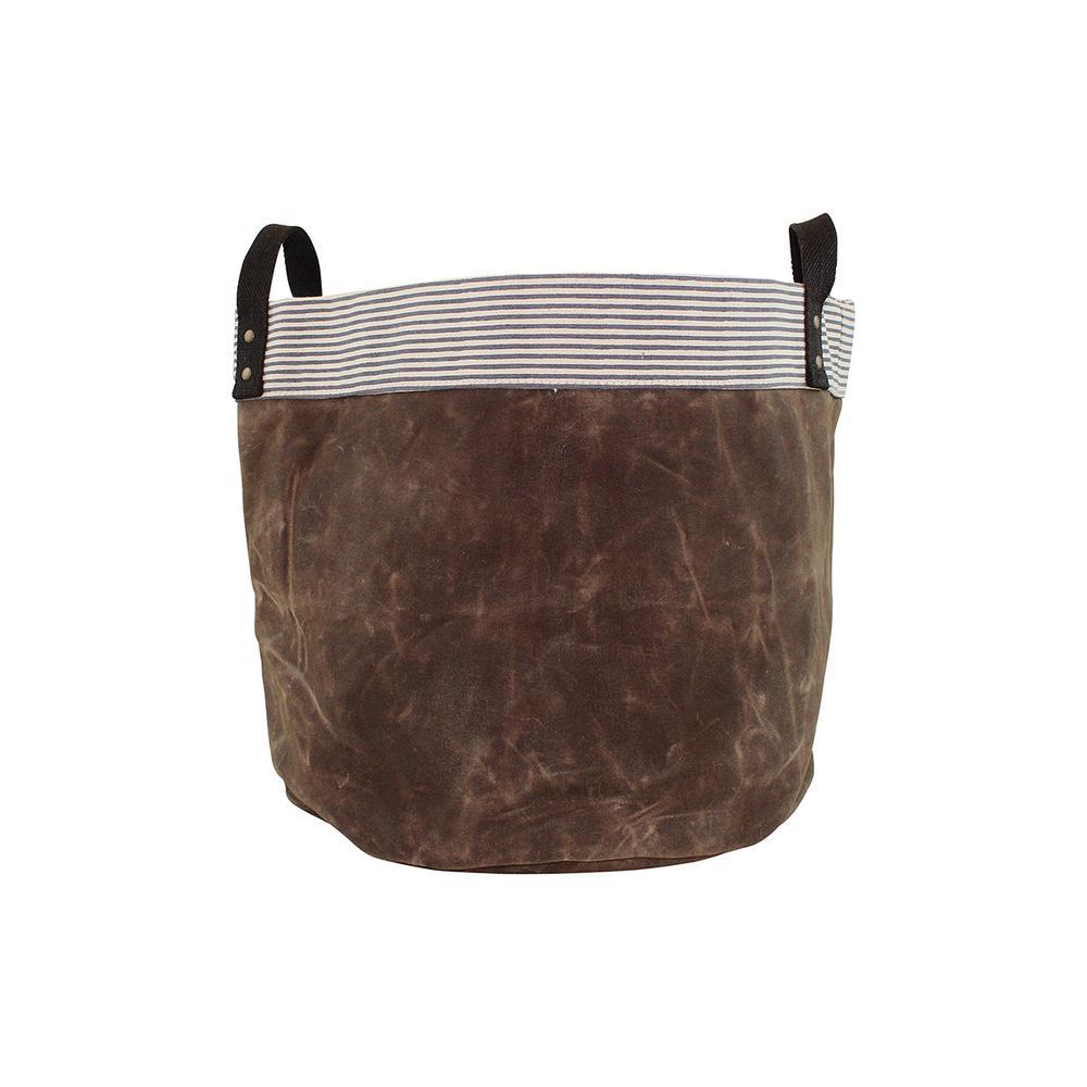 Medium Khaki Waxed Canvas Round Bottom Fabric Storage Tub