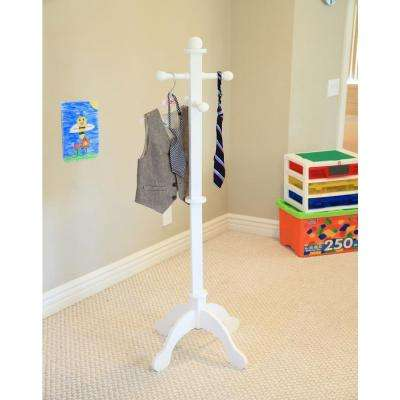 4-Hook Kid's Coat Rack in White
