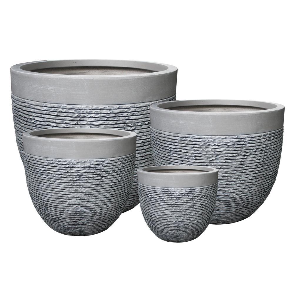 22 in. Clay Modern Zen Fiber Round Planter (Set of 4)