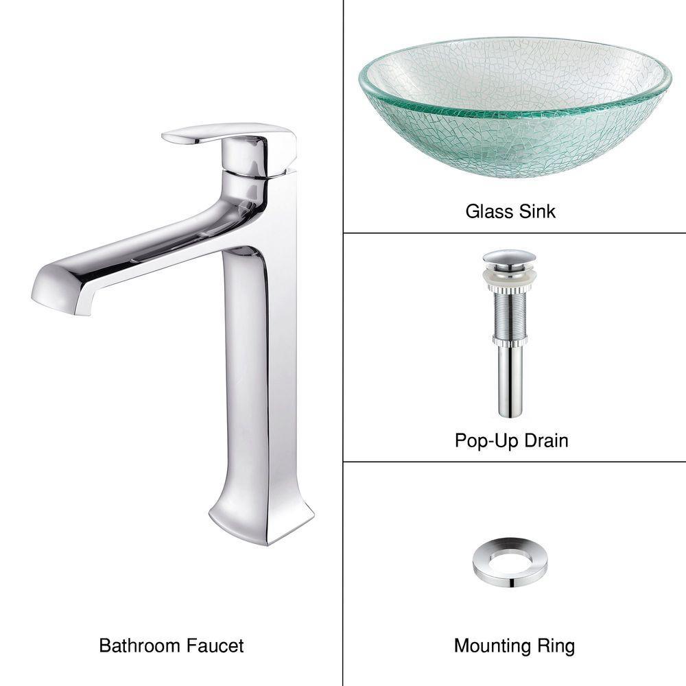 KRAUS Vessel Sink in Broken with Decorum Faucet in Chrome