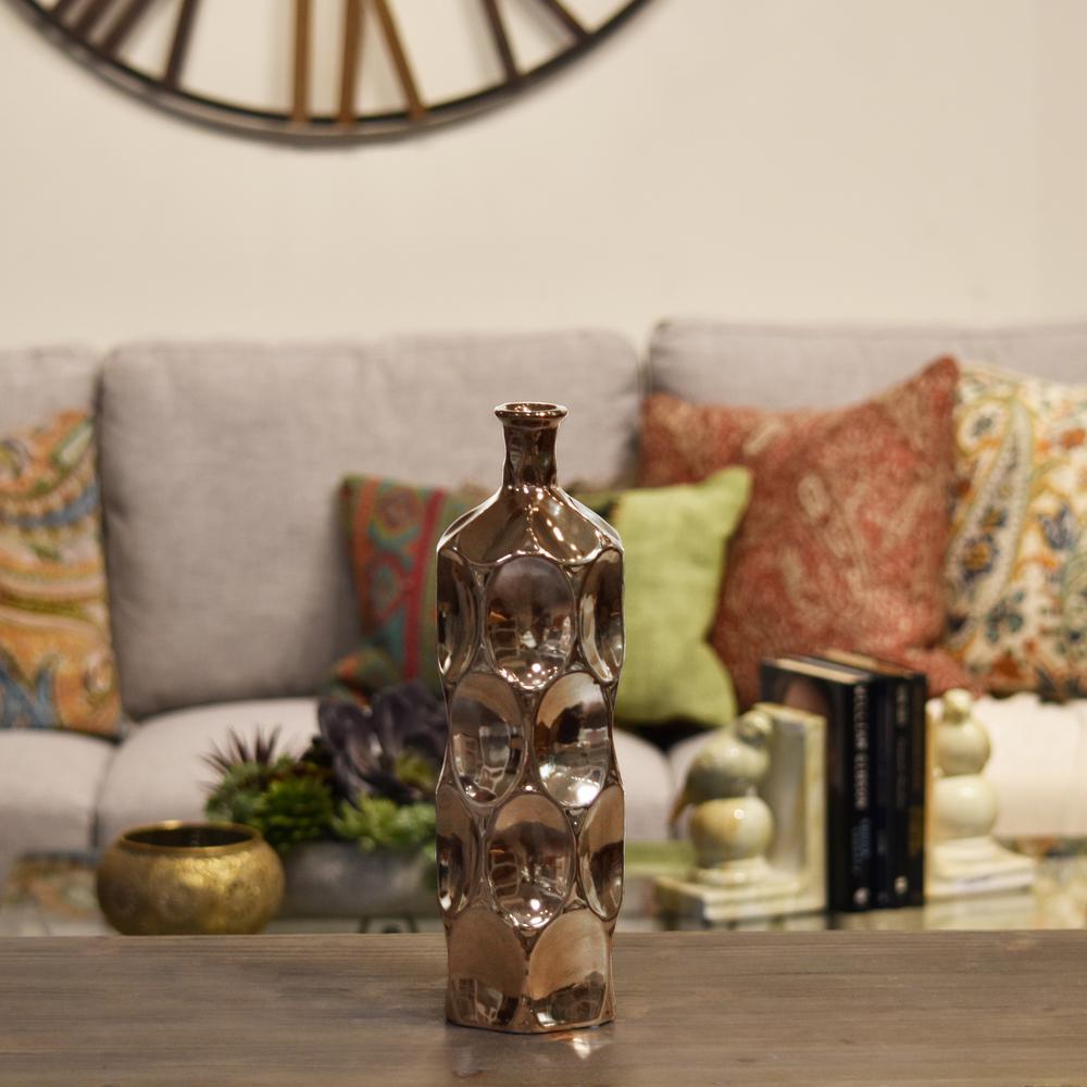 Copper Polished Chrome Finish Ceramic Decorative Vase