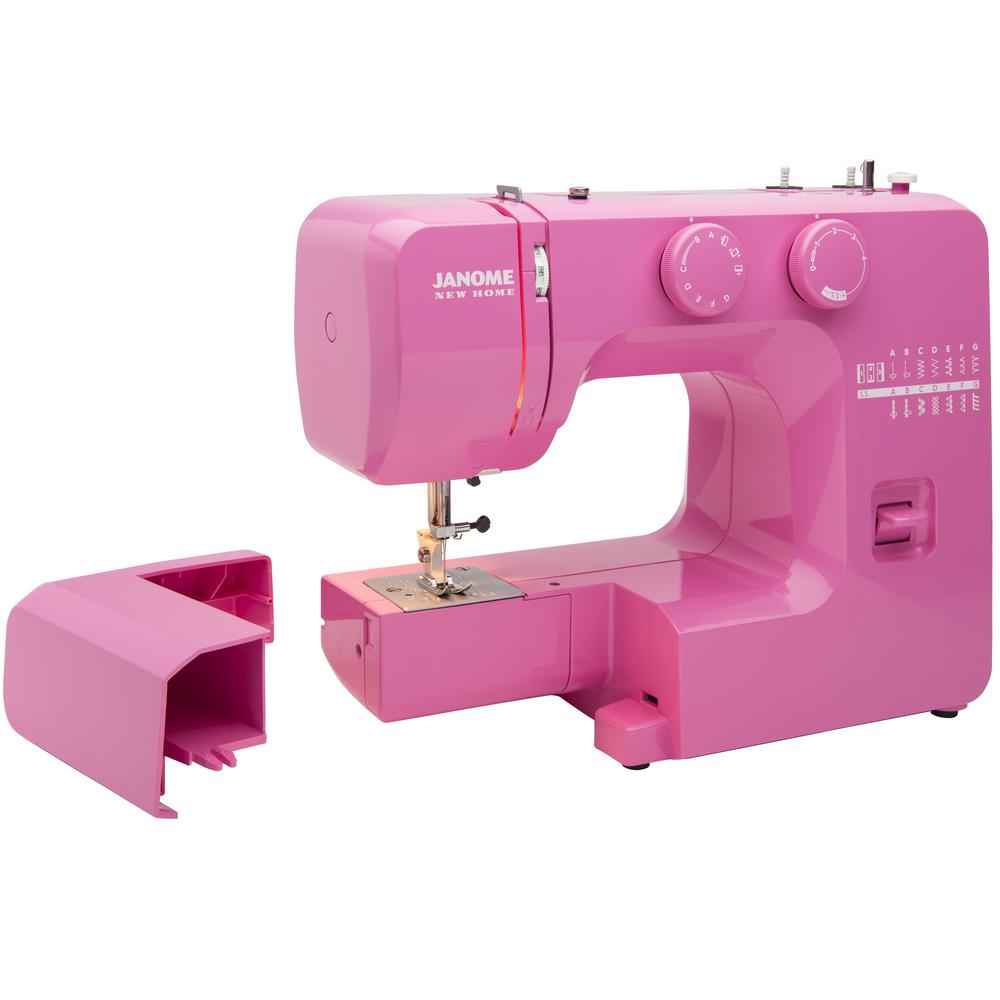 Pink Sorbet Easy-to-Use Sewing Machine Fun Colors. Serious Sewing. Experience the fun of sewing with the Janome Pink Sorbet sewing machine. The Janome Pink Sorbet easy-to-use sewing machine was designed with beginners in mind. It includes an easy-to-follow Instruction Manual, Quick Start Guide and YouTube video tutorials. This vibrant sewing machine also has a built-in bobbin loading guide that is impossible to miss, and is easily found within sight of the bobbin loading area. Boasting convenient features like 15 of the most popular and versatile built-in stitches, a 4-step buttonhole, adjustable stitch length and a front-loading bobbin system, this sewing machine will be one you can grow into. Do not let the fun colors fool you; this full-sized sewing machine also has an interior heavy-duty metal frame, dual retractable spool pins, and 4-presser feet. The Janome Pink Sorbet sewing machine is versatile, so you can tackle projects like garment sewing, home decor, quilting and even heirloom projects with ease.