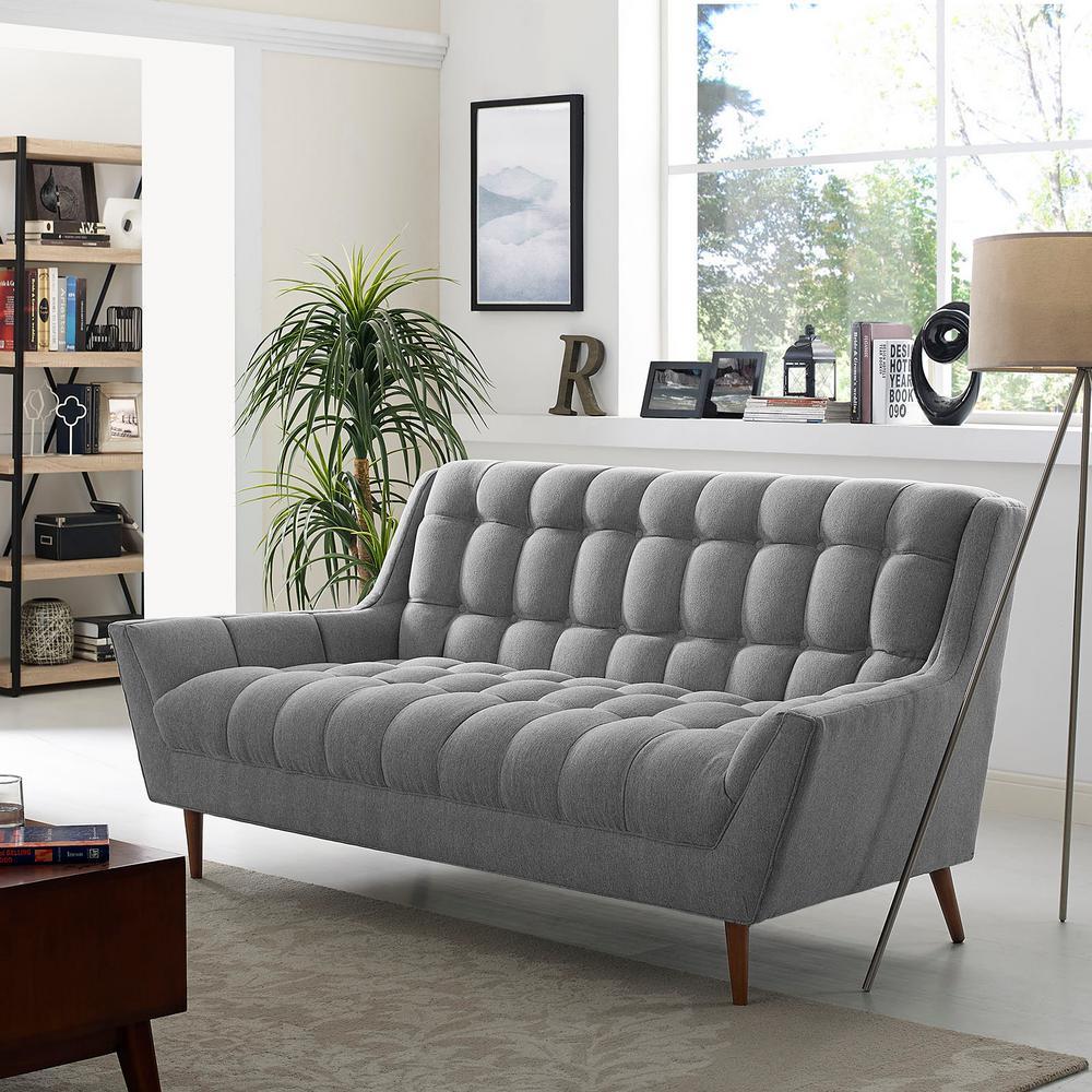 Response Gray Upholstered Fabric Loveseat