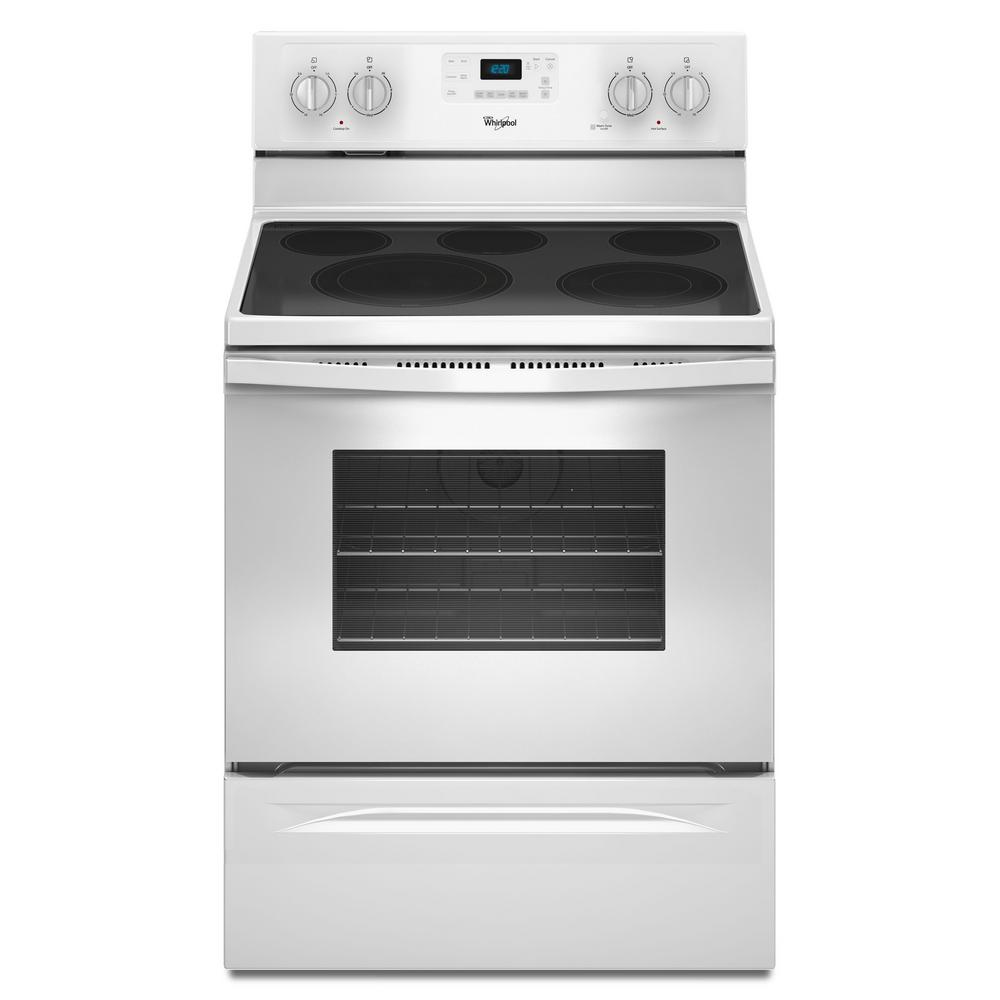 Whirlpool 30 in. 5.3 cu. ft. Electric Range with Self-Cleaning Convection Oven in White