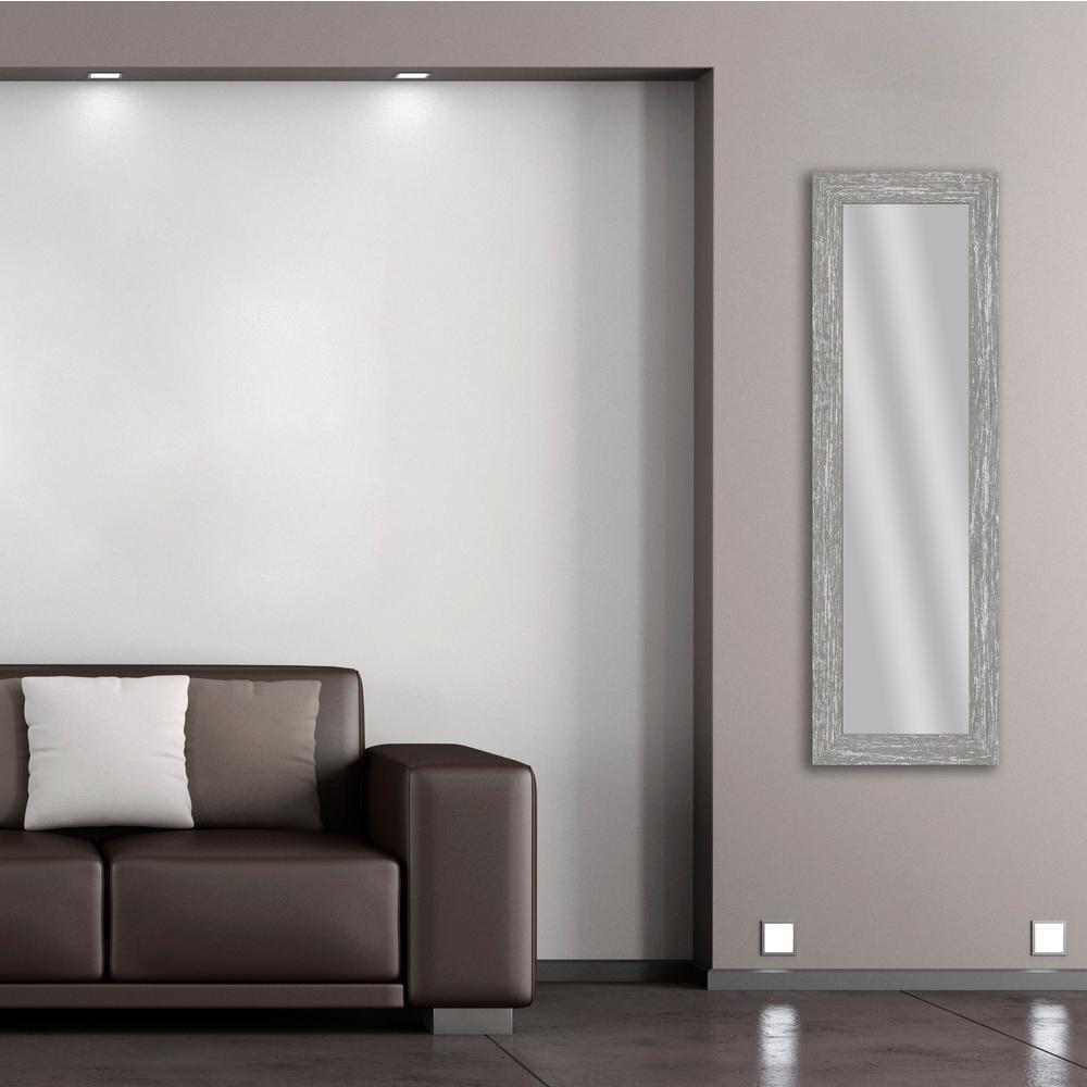53.5 in. x 17.5 in. Gray Wash Framed Mirror