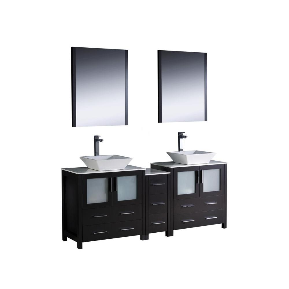 Fresca Torino 72 in. Double Vanity in Espresso with Glass Stone Vanity Top in White with White Basins and Mirrors