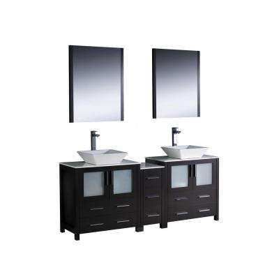 Torino 72 in. Double Vanity in Espresso with Glass Stone Vanity Top in White with White Basins and Mirrors