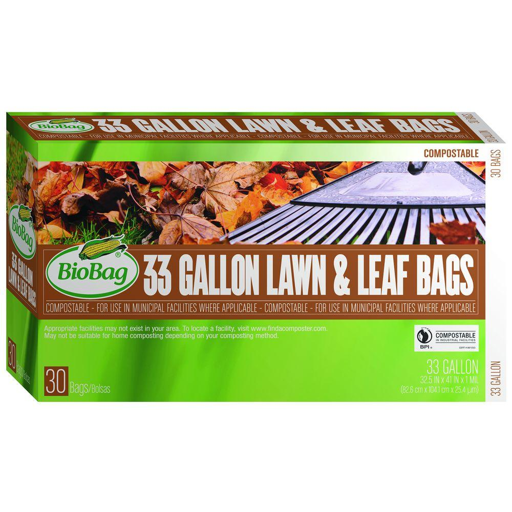 BioBag 33 gal. Certified Compostable Lawn and Leaf Bags (30-Count)