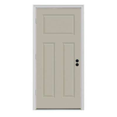 34 in. x 80 in. 3-Panel Craftsman Desert Sand Painted Steel Prehung Right-Hand Outswing Front Door w/Brickmould