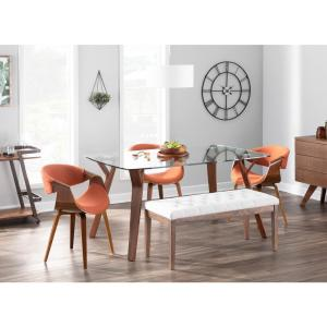 Lumisource Curvo Bent Wood Walnut and Orange Dining/Accent ...