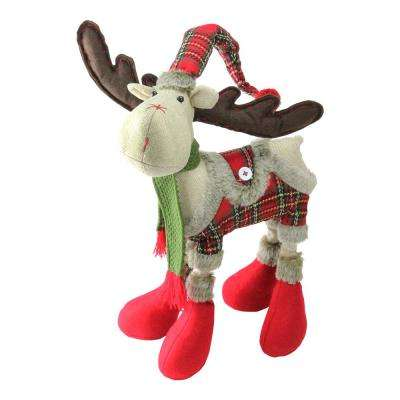 Plush Nordic Red and Green Plaid Reindeer Christmas Table Top Figure