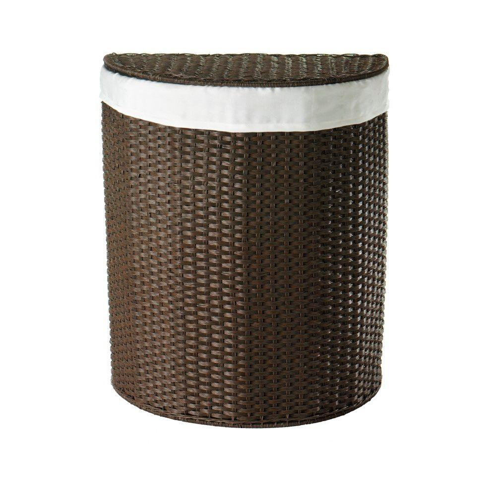 Home Decorators Collection Resin 21 in. W Chocolate Half Round Laundry Hamper with Liner