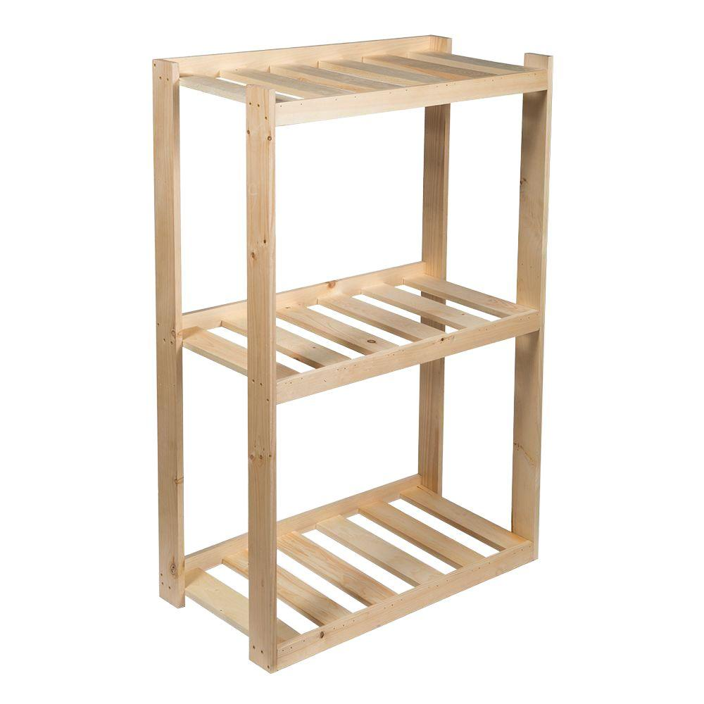 Crates & Pallet 37.5 in. 3-Shelf Wood Shelving Unit in Unfinished ...