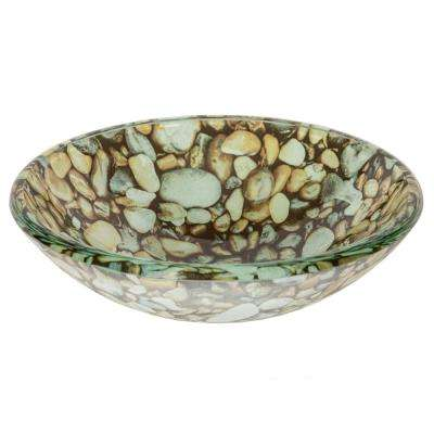 Small Natural Pebble Pattern Glass Vessel Sink in Multi Colors with Pop-Up Drain and Mounting Ring in Oil Rubbed Bronze