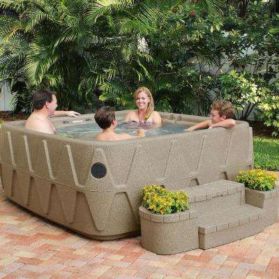 Elite 500 5-Person Lounger Plug and Play Hot Tub with 29 Stainless Jets, Ozone and LED Waterfall in Cobblestone