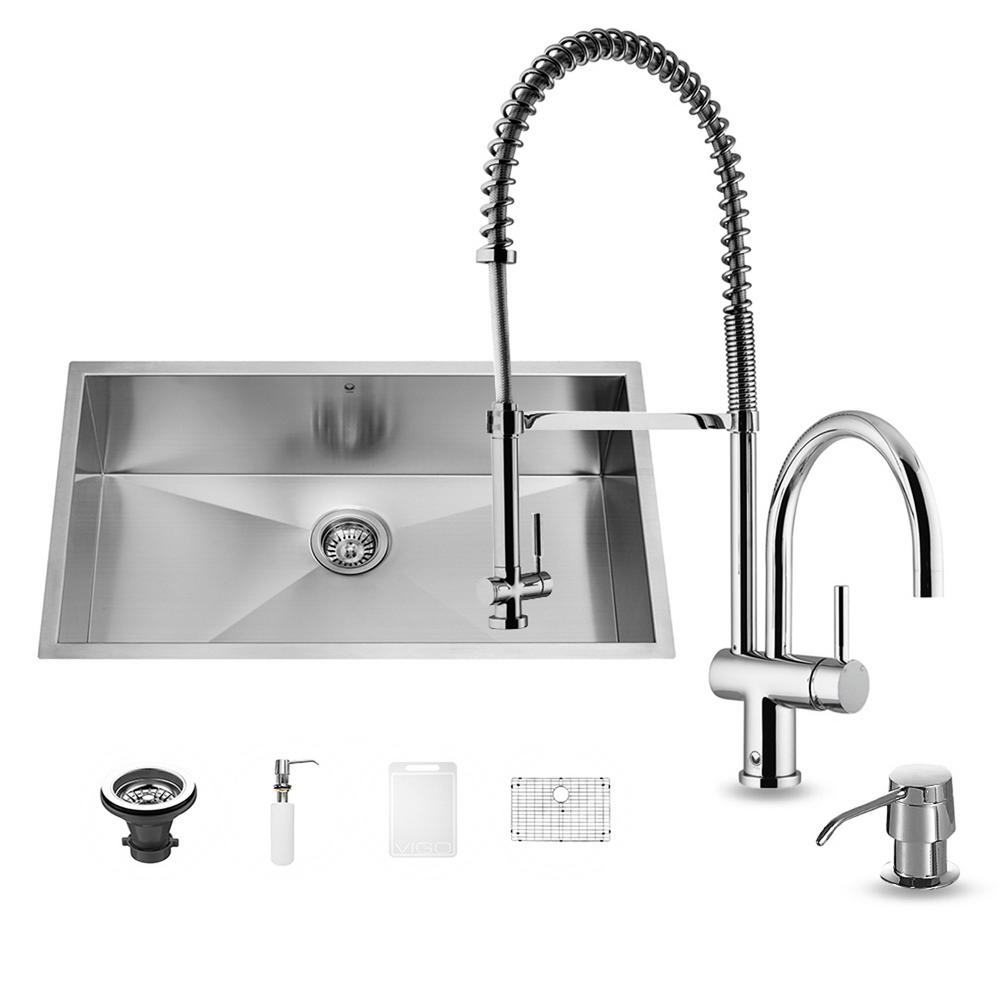 VIGO All-in-One Undermount Stainless Steel 30 in. Single Bowl Kitchen Sink in Chrome