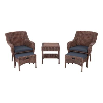 Cambridge 5-Piece Brown Wicker Outdoor Patio Conversation Seating Set with CushionGuard Charleston Blue-Green Cushions