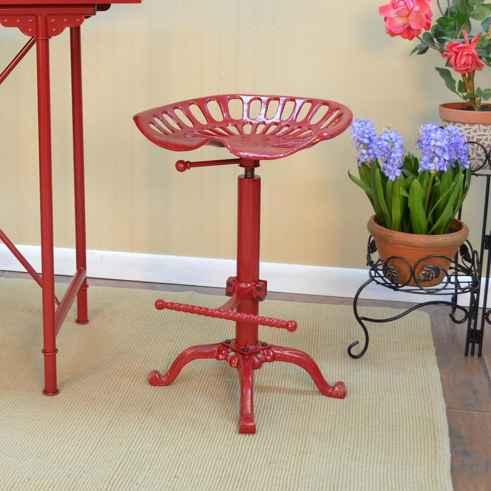 Carolina Cottage Tractor Seat Adjule Height Red Bar Stool