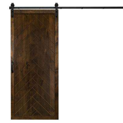 36 in. x 84 in. Herringbone Dark Chocolate Alder Wood Interior Barn Door Slab with Sliding Door Hardware Kit