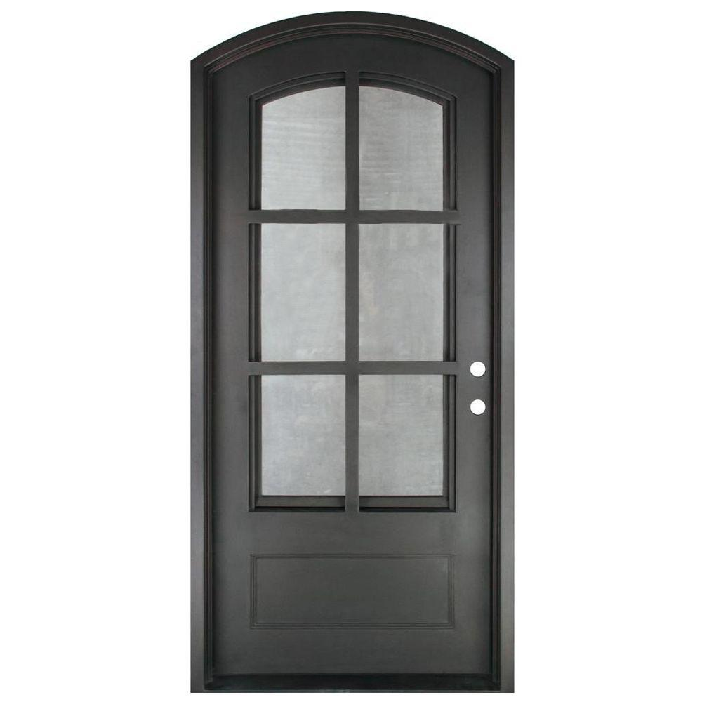 Iron Doors Unlimited 46 In X 97 5 In Craftsman Classic 6 Lite Painted Oil Rubbed Bronze Clear