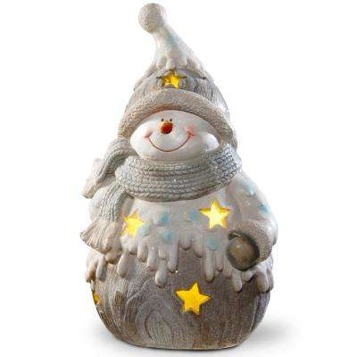 17 in. Lighted Snowman Decor Piece
