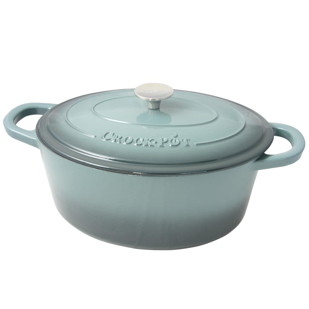 Artisan 7 Qt. Enameled Cast Iron Oval Dutch Oven with Lid