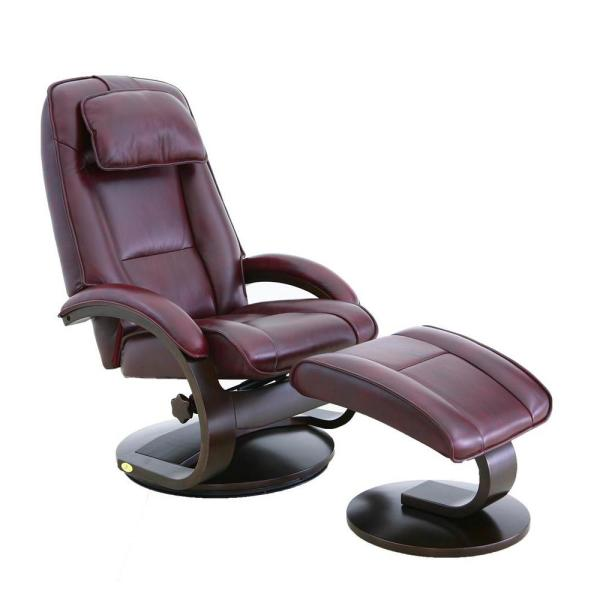 Brampton Merlot Top Grain Leather Recliner with Ottoman