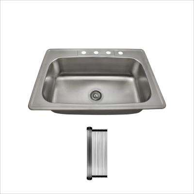 All-in-One Drop-In Stainless Steel 32-7/8 in. Single Bowl Kitchen Sink