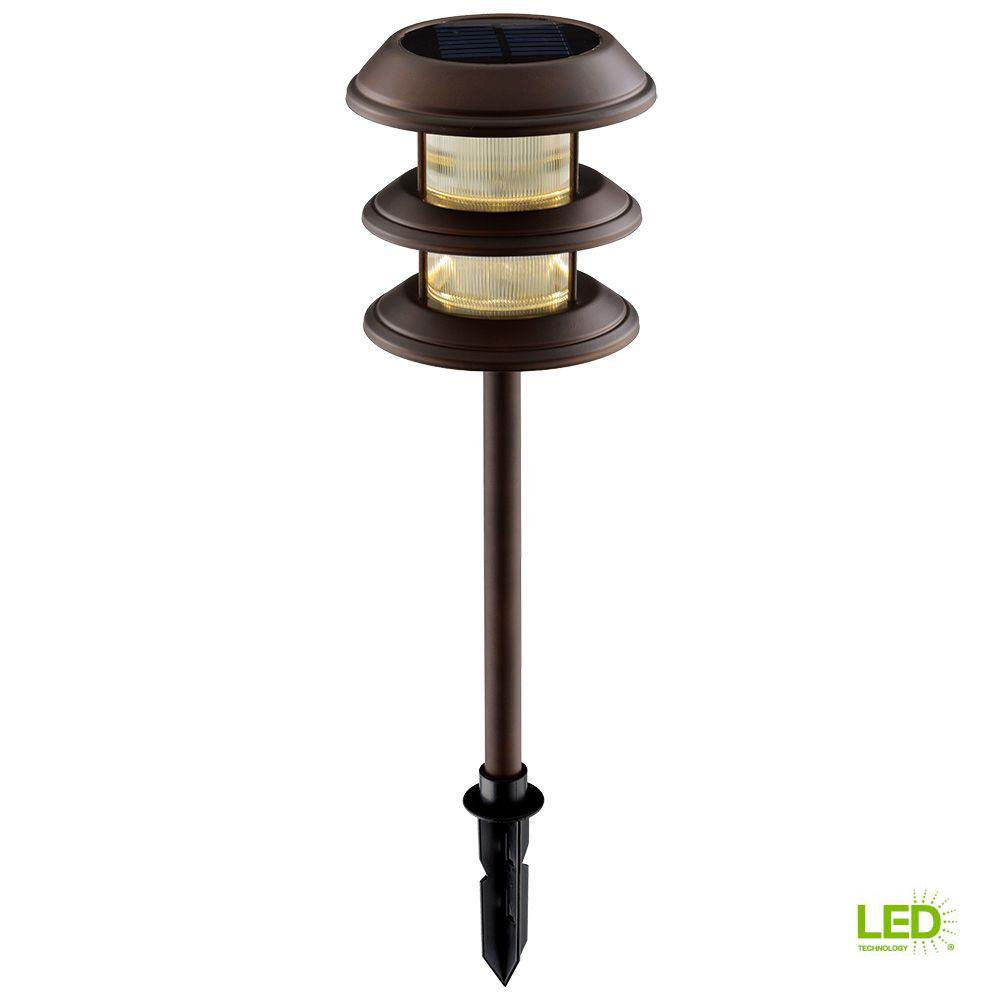 Hampton Bay Solar Mediterranean Bronze Outdoor Integrated Led 3 Tier Landscape Path Light With Ribbed