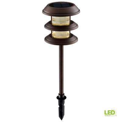 Solar Mediterranean Bronze Outdoor Integrated LED 3-Tier Landscape Path Light with Ribbed  Lens (6-Pack)