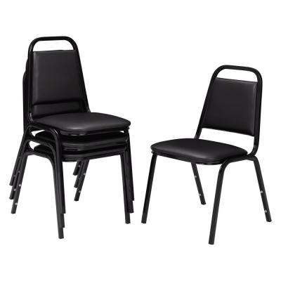 9100 Series Panther Black Vinyl Upholstered Stack Chair (4-Pack)