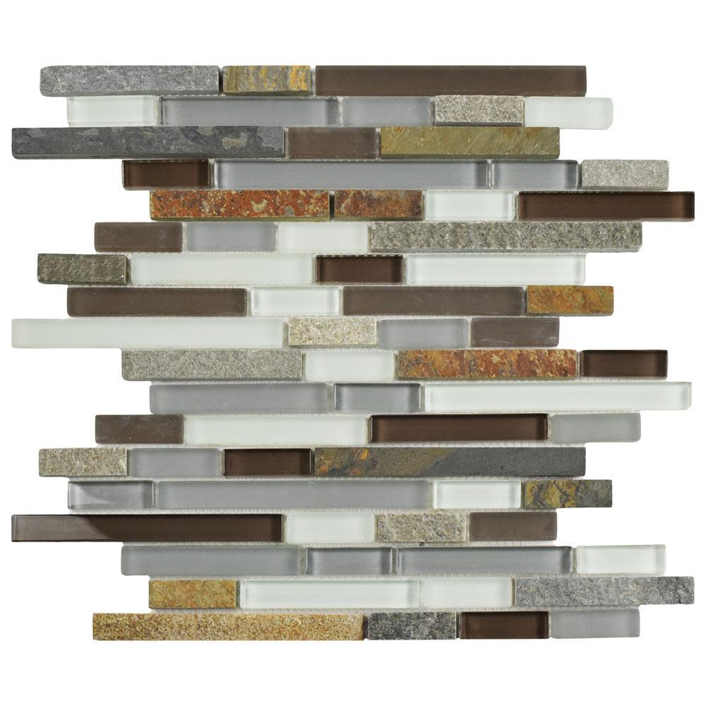 Merola Tile Tessera Piano Tundra 11-3/4 in. x 11-7/8 in. x 8 mm Glass and Stone Mosaic Tile