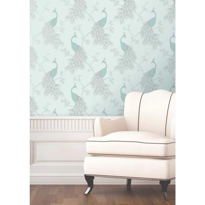 56.4 sq. ft. Phasia Seafoam Peacock Wallpaper