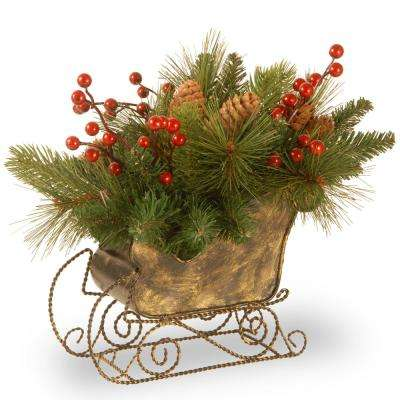 10 in. Decorative Collection Long Needle Pine Cone Sleigh