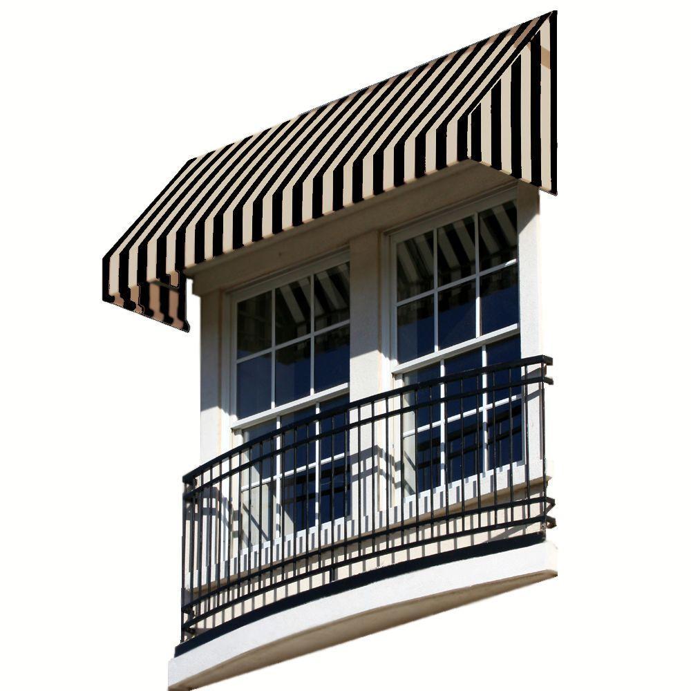 AWNTECH 3 ft. New Yorker Window Awning (31 in. H x 24 in. D) in Black/Tan Stripe