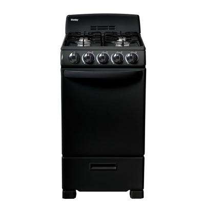 20 in. 2.3 cu. ft. Gas Range in Black with 4-Burner Gas on Glass