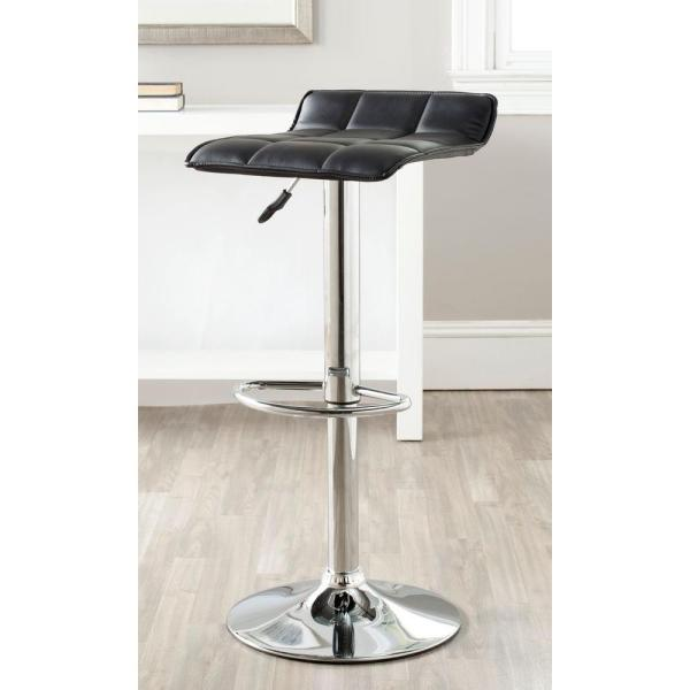 Safavieh Lamita Adjustable Height Chrome Swivel Cushioned Bar Stool FOX7516B