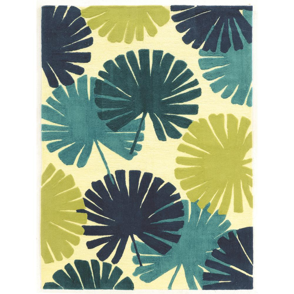 Linon Home Decor Le Soleil Spring Blues And Green 5 Ft. X 7 Ft.