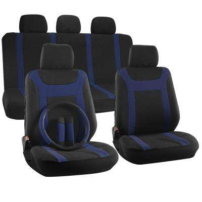 Polyester Seat Covers 26 in. L x 21 in. W x 48 in. H 17-Piece Y-Stripe Black Blue