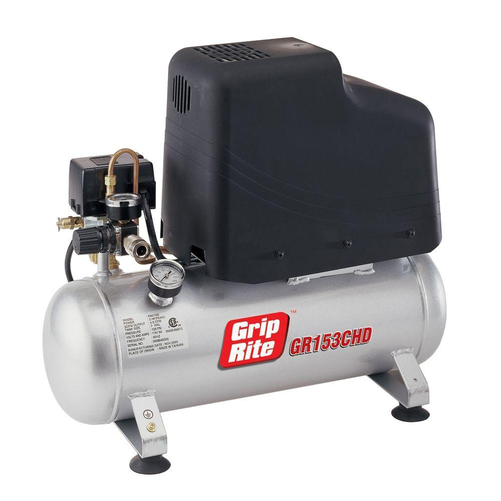 Grip-Rite Hotdog Style 3-Gal. Portable Twin Tank Electric Compressor-DISCONTINUED