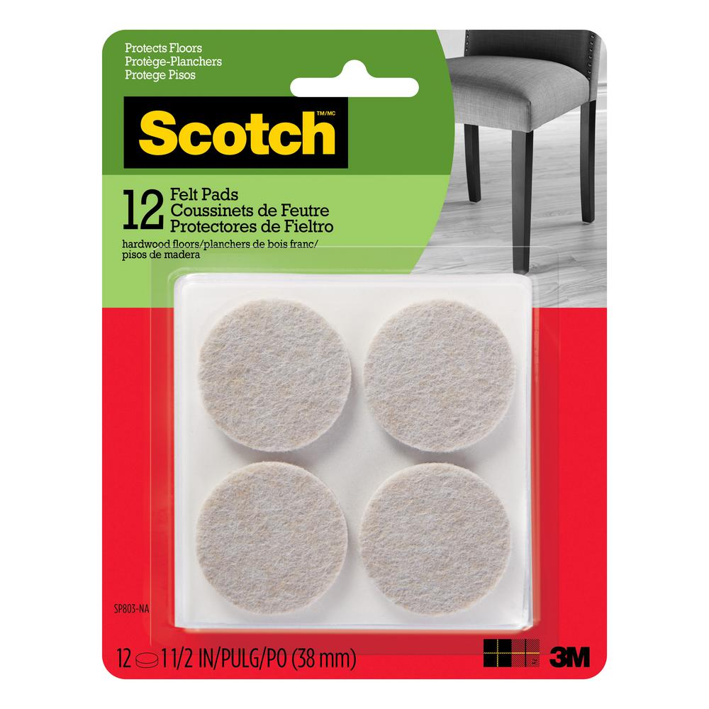 3M Scotch 1.5 in. Beige Round Surface Protection Felt Floor Pads (12-Pack)