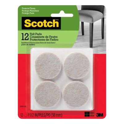 Scotch 1.5 in. Beige Round Surface Protection Felt Floor Pads (12-Pack)